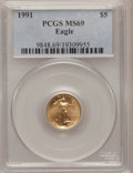 Modern Bullion Coins: , 1991 G$5 Tenth-Ounce Gold Eagle MS69 PCGS. PCGS Population (966/3).NGC Census: (1808/102). Mintage: 165,200. Numismedia Ws...
