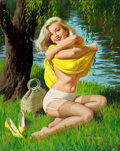 Pin-up and Glamour Art, ARTHUR SARON SARNOFF (American, 1912-2000). Pin-Up by theLake, 1960s. Oiil on canvas board. 29.5 x 24 in.. Signedlower...