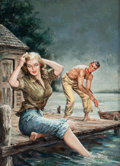 Pulp, Pulp-like, Digests, and Paperback Art, AMERICAN ARTIST (20th Century). Waterfront Girl, paperbackdigest cover, 1952. Oil on canvas board. 25.25 x 18.25 in..N...