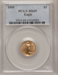 Modern Bullion Coins: , 1999 G$5 Tenth-Ounce Gold Eagle MS69 PCGS. PCGS Population(5547/126). NGC Census: (5526/856). Numismedia Wsl. Price for p...