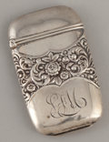 Silver Smalls:Match Safes, AN AMERICAN SILVER MATCH SAFE . Maker unidentified, circa 1890.Marks: P & F, STERLING. 2-3/8 inches high (6.0 cm). .55...