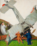 Paintings, PERCY D. JOHNSON (American, 20th Century). Fisk Co.--Time to Retire, advertising illustration. Oil on canvas. 30 x 24 in...