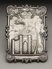 AN AMERICAN SILVER CALLING CARD CASE Maker unknown, circa 1850 Unmarked 3-1/2 inches high (8.9 cm) 1.09