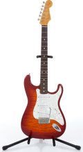 Music Memorabilia:Instruments , 1990s Fender Foto Flame Stratocaster Cherry Sunburst ElectricGuitar Serial # T007736 ...