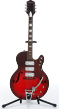 Music Memorabilia:Instruments , 1950s Silvertone Wine Burst Semi-Hollow Body Electric Guitar Serial# 1798H1454....