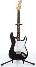 Music Memorabilia:Instruments , 1990s Fender Stratocaster Black Electric Guitar Serial # Q000113...