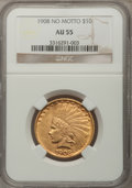Indian Eagles: , 1908 $10 No Motto AU55 NGC. NGC Census: (27/579). PCGS Population(66/615). Mintage: 33,500. Numismedia Wsl. Price for prob...