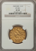 Liberty Eagles, 1849/849 $10 XF40 NGC. VP-001. NGC Census: (62/633). PCGSPopulation (58/238). Mintage: 653,618. Numismedia Wsl. Price for...