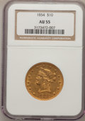 Liberty Eagles, 1854 $10 AU55 NGC....