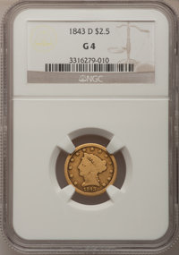 1843-D $2 1/2 Small D Good 4 NGC. NGC Census: (1/257). PCGS Population (0/232). Mintage: 36,200. (#7730)...(PCGS# 7730)
