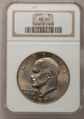 Eisenhower Dollars: , 1977 $1 MS65 NGC. NGC Census: (1737/285). PCGS Population (1060/797). Mintage: 12,596,000. Numismedia Wsl. Price for proble...