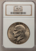 Eisenhower Dollars: , 1977 $1 MS65 NGC. NGC Census: (1737/285). PCGS Population (1054/796). Mintage: 12,596,000. Numismedia Wsl. Price for proble...