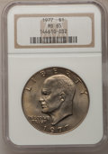 Eisenhower Dollars: , 1977 $1 MS65 NGC. NGC Census: (1737/285). PCGS Population (1055/796). Mintage: 12,596,000. Numismedia Wsl. Price for proble...