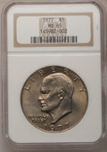 Eisenhower Dollars: , 1977 $1 MS65 NGC. NGC Census: (1737/285). PCGS Population (1051/796). Mintage: 12,596,000. Numismedia Wsl. Price for proble...