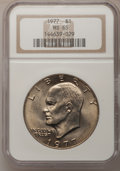 Eisenhower Dollars: , 1977 $1 MS65 NGC. NGC Census: (1737/284). PCGS Population (1051/796). Mintage: 12,596,000. Numismedia Wsl. Price for proble...
