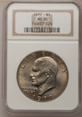 Eisenhower Dollars: , 1977 $1 MS65 NGC. NGC Census: (1741/287). PCGS Population (1095/809). Mintage: 12,596,000. Numismedia Wsl. Price for proble...