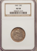 Seated Quarters: , 1862 25C AU58 NGC. NGC Census: (17/92). PCGS Population (29/116).Mintage: 932,000. Numismedia Wsl. Price for problem free ...