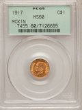 Commemorative Gold: , 1917 G$1 McKinley MS60 PCGS. PCGS Population (7/2483). NGC Census:(5/1275). Mintage: 10,000. Numismedia Wsl. Price for pro...
