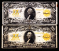 Large Size:Gold Certificates, Fr. 1187 $20 1922 Gold Certificates Two Examples Fine.. ... (Total: 2 notes)