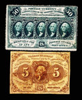 Fractional Currency:First Issue, 5¢ and 50¢ First Issue Notes.. ... (Total: 2 notes)