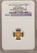 California Fractional Gold: , 1872 50C Liberty Round 50 Cents, BG-1013, Low R.6,--ImproperlyCleaned--NGC Details. Unc. NGC Census: (0/3). PCGS Populatio...