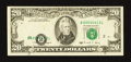 Error Notes:Shifted Third Printing, Fr. 2077-B $20 1990 Federal Reserve Note. Fine-Very Fine.. ...