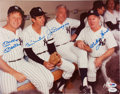 Autographs:Photos, Circa 1980 Mickey Mantle, Billy Martin, Joe DiMaggio & WhiteyFord Signed Large Photograph....