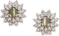 Estate Jewelry:Earrings, Cat's-Eye Chrysoberyl, Diamond, White Gold Earrings. ...