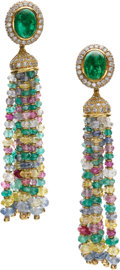 Estate Jewelry:Earrings, Diamond, Multi-Stone, Gold Detachable Earrings. ...