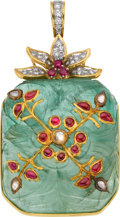 Estate Jewelry:Pendants and Lockets, Emerald, Ruby, Diamond, Gold Pendant. ...