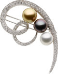 Estate Jewelry:Brooches - Pins, Multi-Colored South Sea Cultured Pearl, Diamond, White Gold Brooch. ...