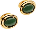 Estate Jewelry:Cufflinks, Jadeite Jade, Gold Cuff Links, Ruser. ...