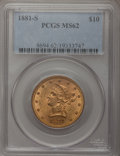 Liberty Eagles: , 1881-S $10 MS62 PCGS. PCGS Population (320/35). NGC Census:(456/26). Mintage: 970,000. Numismedia Wsl. Price for problem f...