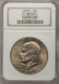 Eisenhower Dollars: , 1977 $1 MS65 NGC. NGC Census: (1739/285). PCGS Population (1061/797). Mintage: 12,596,000. Numismedia Wsl. Price for proble...