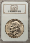 Eisenhower Dollars: , 1977 $1 MS65 NGC. NGC Census: (1739/285). PCGS Population (1070/797). Mintage: 12,596,000. Numismedia Wsl. Price for proble...