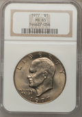 Eisenhower Dollars: , 1977 $1 MS65 NGC. NGC Census: (1739/285). PCGS Population (1072/798). Mintage: 12,596,000. Numismedia Wsl. Price for proble...