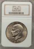 Eisenhower Dollars: , 1977 $1 MS65 NGC. NGC Census: (1739/285). PCGS Population (1073/798). Mintage: 12,596,000. Numismedia Wsl. Price for proble...
