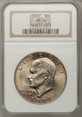 Eisenhower Dollars: , 1977 $1 MS65 NGC. NGC Census: (1739/285). PCGS Population (1077/798). Mintage: 12,596,000. Numismedia Wsl. Price for proble...