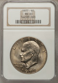 Eisenhower Dollars: , 1977 $1 MS65 NGC. NGC Census: (1739/285). PCGS Population (1078/798). Mintage: 12,596,000. Numismedia Wsl. Price for proble...