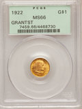 Commemorative Gold: , 1922 G$1 Grant With Star MS66 PCGS. PCGS Population (573/224). NGCCensus: (293/99). Mintage: 5,016. Numismedia Wsl. Price ...