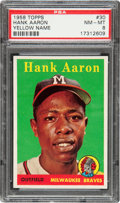 Baseball Cards:Singles (1950-1959), 1958 Topps Hank Aaron, Yellow Letters #30 PSA NM-MT 8....