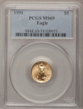 Modern Bullion Coins: , 1991 G$5 Tenth-Ounce Gold Eagle MS69 PCGS. PCGS Population (966/3).NGC Census: (1818/103). Mintage: 165,200. Numismedia Ws...