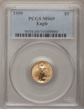 Modern Bullion Coins: , 1999 G$5 Tenth-Ounce Gold Eagle MS69 PCGS. PCGS Population(5547/126). NGC Census: (6845/858). Numismedia Wsl. Price for p...