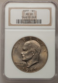 Eisenhower Dollars: , 1977 $1 MS65 NGC. NGC Census: (1736/284). PCGS Population (1048/794). Mintage: 12,596,000. Numismedia Wsl. Price for proble...