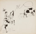 Mainstream Illustration, JOHN HELD JR. (American, 1889-1958). GE Cowboy. Ink on heavycard stock. 12.5 x 13.25 in.. Signed lower center left. ...