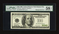Error Notes:Obstruction Errors, Fr. 2176-J $100 1999 Federal Reserve Note. PMG Choice About Unc 58EPQ.. ...