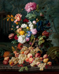 Fine Art - Painting, American:Antique  (Pre 1900), SEVERIN ROESEN (German, 1805-1882). Still Life with Fruit andFlowers in a Landscape, 1850. Oil on canvas. 36 x 29 inche...