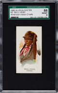 "Non-Sport Cards:Singles (Pre-1950), 1888 N2 Allen & Ginter ""American Indian Chiefs"" Bull Head SGC88 NM/MT 8 - Highest Grade Known!..."