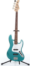 Music Memorabilia:Instruments , 2000s Fernanedes Fender Jazz Bass Copy Metallic Teal Electric BassGuitar Serial # 024830....