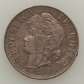 Chile, Chile: Trial Strike 2 cents 1890 over 20 centavos 1881,...
